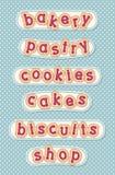 Boulangerie, pâtisserie, biscuits, gâteaux, biscuits et boutique illustration de vecteur