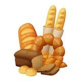 Boulangerie : pain, petits pains, croissant, pain Illustration de vecteur de dessin animé Image libre de droits