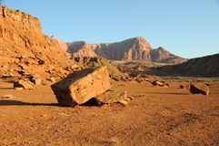 Boulder au-dessous des falaises vermeilles Photos stock
