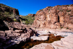 Boulder Canyon Trail  Superstition Mountain Wilderness in Arizona. The Boulder Canyon  Trail  follows  the canyon bottom for several  miles. It is very remote Royalty Free Stock Photo