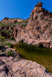 Boulder Canyon Trail  Superstition Mountain Wilderness in Arizona. The Boulder Canyon  Trail  follows  the canyon bottom for several  miles. It is very remote Royalty Free Stock Photos