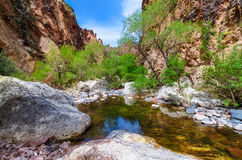 Boulder Canyon Trail  Superstition Mountain Wilderness in Arizona Royalty Free Stock Image