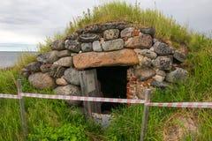 Boulder Cellar on the Bolshoy Zayatsky Island. Solovetsky archipelago, White sea, Russia stock image