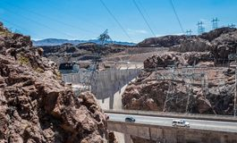 Engineering structures of Hoover Dam, Nevada. Panorama, aerial view. Boulder City, Nevada, USA - June 19, 2017: The Hoover Dam, a hydroelectric power station on Stock Photos