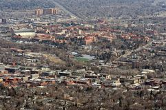 Boulder, Colorado. A view of Boulder, Colorado. The downtown district can be seen in the foreground and the University of Colorado - Boulder is in the background Stock Images