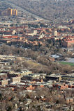 Boulder, Colorado. A view of Boulder, Colorado. The downtown district can be seen in the foreground and the University of Colorado - Boulder is in the background Royalty Free Stock Photos