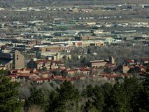 Boulder, Colorado. This is an aerial view of Boulder, Colorado. The University of Colorado can be seen in the foreground Stock Image