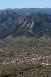 Boulder, Colorado. This is an aerial view of Boulder, Colorado with the Flatirons in the background Royalty Free Stock Photography