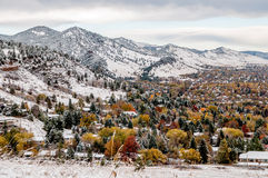 Boulder Colorado - erster Schnee stockfotografie