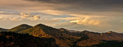 Boulder Colorado Mountain Range Sunset Panorama. Sunset over the mountain range to the west of Boulder, Colorado Stock Images
