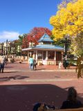 Boulder Colorado Pearl St. Outdoor Shops, Fall Colors,Sunny Blue Sky, Pearl Street Mall, Boulder Colorado Stock Photos