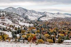 Boulder Colorado - primera nieve fotografía de archivo