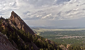 Boulder Colorado Vista. A mountaintop view of the city of Boulder, Colorado as seen from the nearby Rocky Mountains Stock Photos