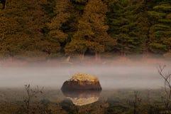 Boulder e Cedar At Rich Lake bianco nordico, Adirondack Forest Preserve, New York fotografia stock