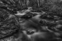 The Boulder Filled River BW Royalty Free Stock Photography