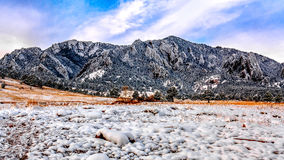 Boulder Flatirons in Snow Stock Photography