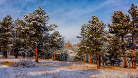 Boulder Flatirons in Snow Stock Image
