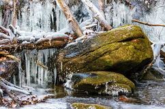 Boulder in frozen waterfall. Huge boulder in frozen waterfall Royalty Free Stock Photos