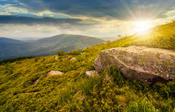 Boulder on the grassy hillside at sunset Stock Photography