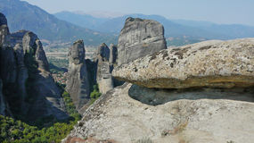 A boulder on a highland background. In Meteora, Greece royalty free stock image