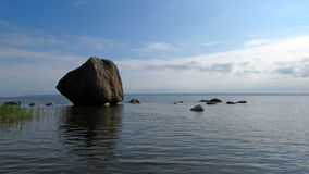 Boulder in Lahemaa national park Estonia. Big rock in Baltic sea near Käsmu in Estonia stock image