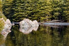 Lake scene. A boulder in a lake conceals the opening of a river Stock Photography