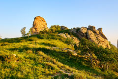 The boulder moorstone on the mountain sunset Royalty Free Stock Photography