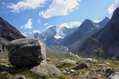 Boulder and mountains Royalty Free Stock Photos