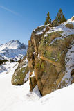 The boulder in mountains. Nature landscape with boulder in winter mountains Stock Images