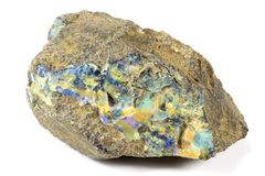 Boulder opal. Found in Queensland/ Australia isolated on white background Royalty Free Stock Photos