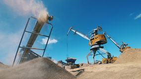Boulder quarry and loaders transporting gravel. Mining Excavation equiipment.