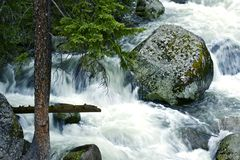 Boulder in the River Stock Images