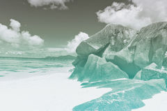 Boulder Rock Formations on Seychelles Beach Stock Images