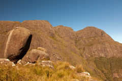 Boulder on rock mountains in Brazil stock photo