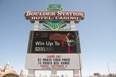 Boulder-Station-Kasino-Anschlagtafel, Las Vegas Lizenzfreie Stockfotos