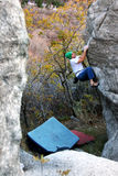 Bouldering. A man bouldering in Little Cottonwood canyon, Utah Stock Image
