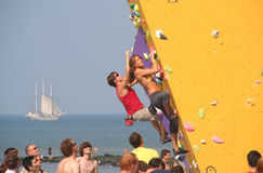Bouldering on the Beach Stock Image