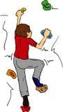 Bouldering. Vector - Boy bouldering - rock climbing indoors vector illustration