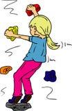 Bouldering. Vector - Girl bouldering - rock climbing indoors stock illustration