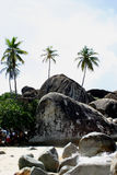 Boulders on the Baths beach Stock Photos