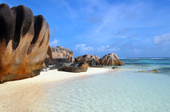 Boulders on a beach of La Digue, Seychelles Royalty Free Stock Image