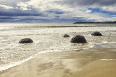 Boulders at the beach of Moeraki New Zealand Stock Photo