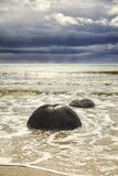 Boulders at the beach of Moeraki New Zealand Royalty Free Stock Image