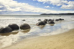 Boulders at the beach of Moeraki New Zealand Royalty Free Stock Images