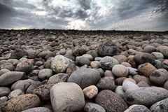 Boulders beach on shore of Barents sea Royalty Free Stock Photography