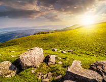 Boulders on the Carpathian hillside at sunset. White sharp boulders on the hillside meadow with green grass in high Crapathian mountains in evening light Royalty Free Stock Photography