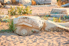 Boulders with a carved figure of the ancient cit Royalty Free Stock Photos
