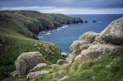 Boulders on the cliffs Lands End Cornwall Royalty Free Stock Images