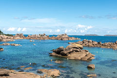 Boulders on the coast near Saint Guirec, at low tide (France) Royalty Free Stock Image