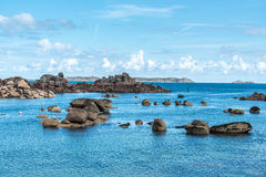 Boulders on the coast near Saint Guirec, at low tide (France) Stock Photography
